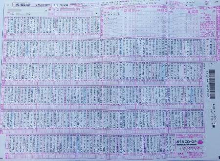 おうちコープの注文書の全体 (450x329)